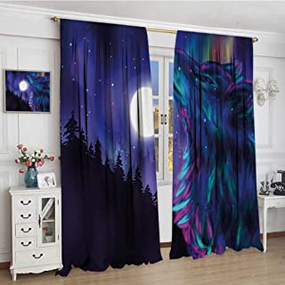 youpinnong Moon Blackout Window Curtain Northern Imagery with Aurora Borealis Wolf Spirit Magical Forest Starry Night Customized Curtains 72
