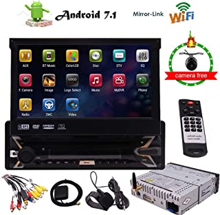 "Android 7.1 Stereo Receiver 1 Din Car DVD Player GPS Navigation with Backup Camera, 7"" Touchscreen LCD, WiFi, Bluetooth Wireless, Mirror Link, USB SD Slot, AM FM RDS Radio, Remote Control"