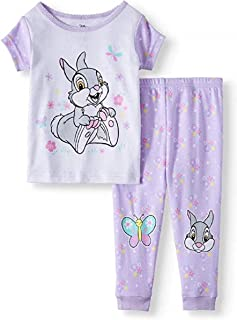 Baby Girls Bambi Thumper Rabbit Cotton Tight fit Pajamas, 2 pc Set Purple/White (9M)