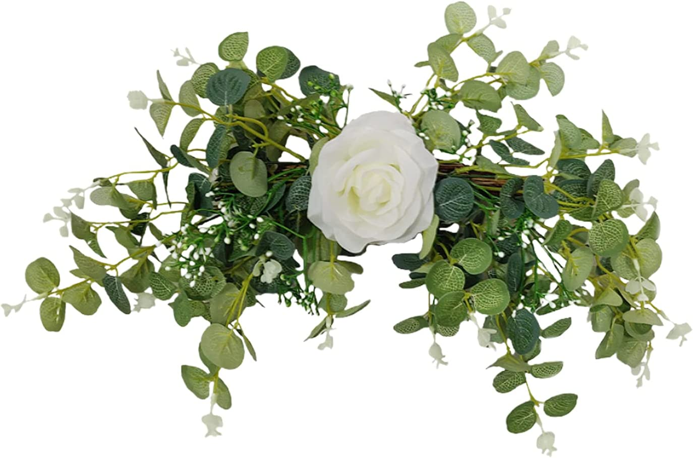 NIUXICH Sale Special Price 21.7inch Artificial Rose favorite Swag Green Silk Arch Wreat Leaf