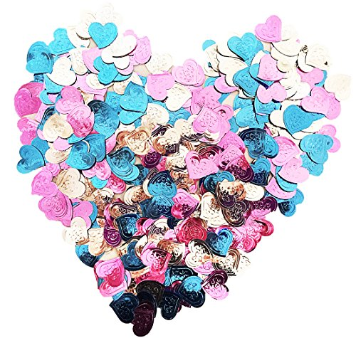 Metallic Foil Pink Silver and Sky Blue Heart Confetti (600+ Piece)