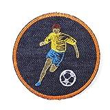 Bügelbilder rund Aufbügler rund für Jungen ø 9,5cm Flicken zum aufbügeln Fußball Fußballer Fußballspieler Jeansflicken von flickli