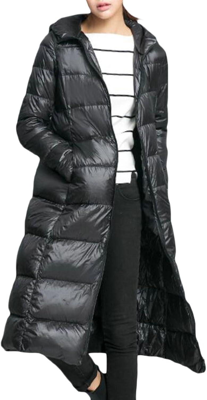 Suncolor8 Womens Lightweight Hooded Long Ultra Light Down Puffer Jacket Winter Coat