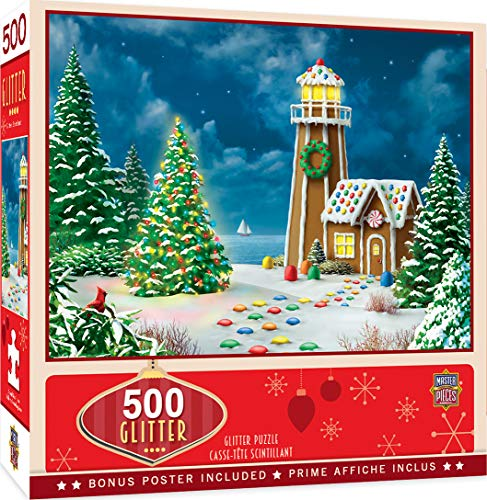 MasterPieces Holiday Glitter Jigsaw Puzzle, Gingerbread Light, Featuring Art by Alan Giana, 500 Pieces