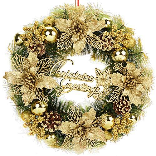 Bageek Weihnachtskranz Türkranz Weihnachten Wannenkranz Künstlich Weihnachten Deko Kranz Weihnachtsgirlande Weihnachten Garland