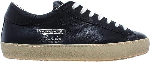 Philippe Model Chaussures paniers Hommes Paris Vintage West Noir Cuir