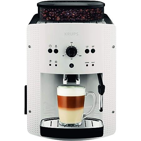 Krup Essential blanche Machine à café à grain, Machine à café, Broyeur grain, Cafetière expresso, 2 tasses, Nettoyage automatique, Buse vapeur, Cappuccino EA810570
