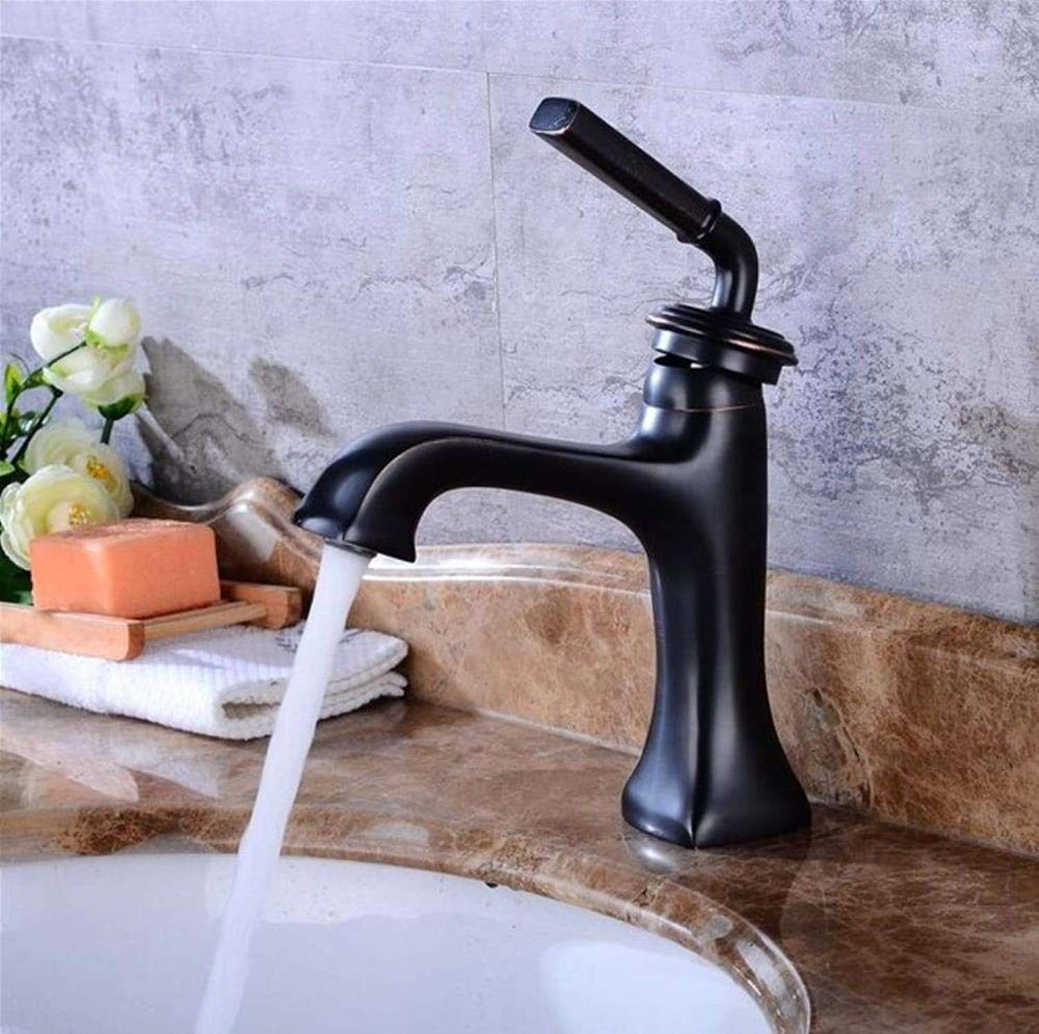 Kai&Guo brass Basin Faucet hot and cold Water Faucet black single lever Wash Faucet Crane bathroom sink faucet basin tap,short