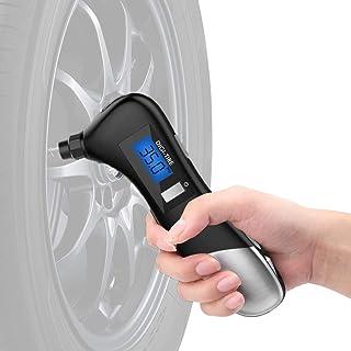 Tyre Gauge, Digital Pressure Measuring, Emergency Flashlight, Escape Safty Hmmer with Seatbelt Cutter, GLass Breaker Multifunction 9 in 1 Car Gadget Kit