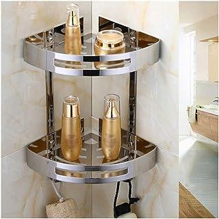 Antirouille Salle de bain étagère rack de douche avec crochets bain Rangement Porte Organisateur coin étagères murale Espa...