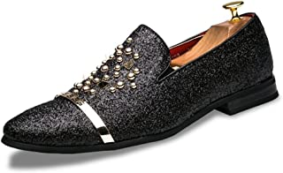 MYHYZZ-Oxfords Men's British Oxfords Sparkling Rivet Slip on Casual Personalized Shoes
