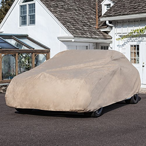 Budge Rain Barrier Cover Fits Sedans up to 22' Long   Waterproof   Breathable, Tan, 264