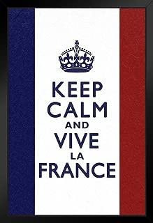 Keep Calm and Vive La France Flag Art Print Black Wood Framed Poster 14x20