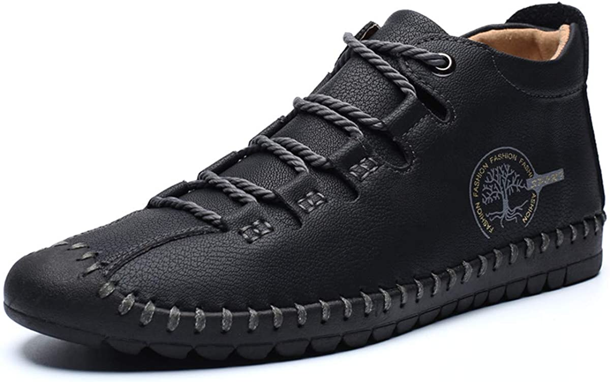 CAMFOSY Leather Oxford Shoes for Men, Casual Comfort Lofters Lace up Slip on Working Dress Shoes Flat Wingtip Shoe Sneaker Black Brown Black 6.5