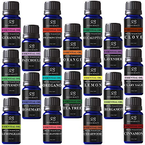 Radha Beauty Aromatherapy 18 Essential Oils (Lavender, Tea Tree, Peppermint, Lemongrass, Orange,...