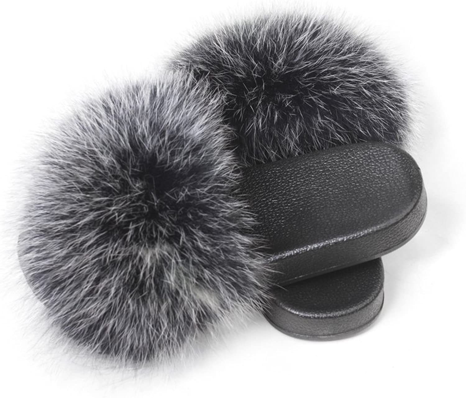 Fur Story Women's Fox Fur Slides for Summer Furry Slides for Outdoor Soft Flat Fluffy Slippers (6, Silvery Black)