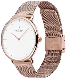 Nordgreen Native Scandinavian Rose Gold Analog Watch with Leather or Mesh Interchangeable Straps