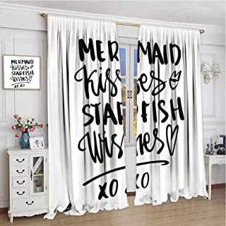 wonderr Sliding Curtains W72 x L72 Inch,Decor Collection Thermal/Room Darkening Window Curtains,Xo Decor,Mermaid Kisses Starfish Wishes Love Valentines Message Inspirational Quote Image,Black White