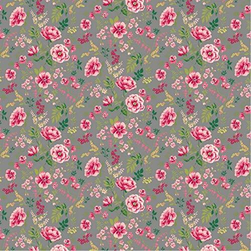 Hans-Textil-Shop Stoff Meterware Süße Blumen Baumwolle - 1 Meter, Blumen, Blumenwiese, Kleidung, Dirndl, Deko, Bettwäsche (Grau)