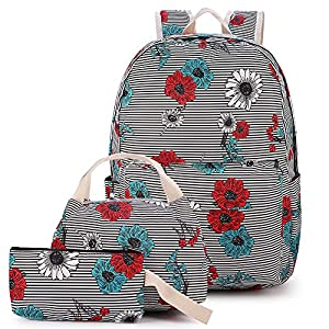 Canvas School backpack Set, Lightweight for Teen Girls Women