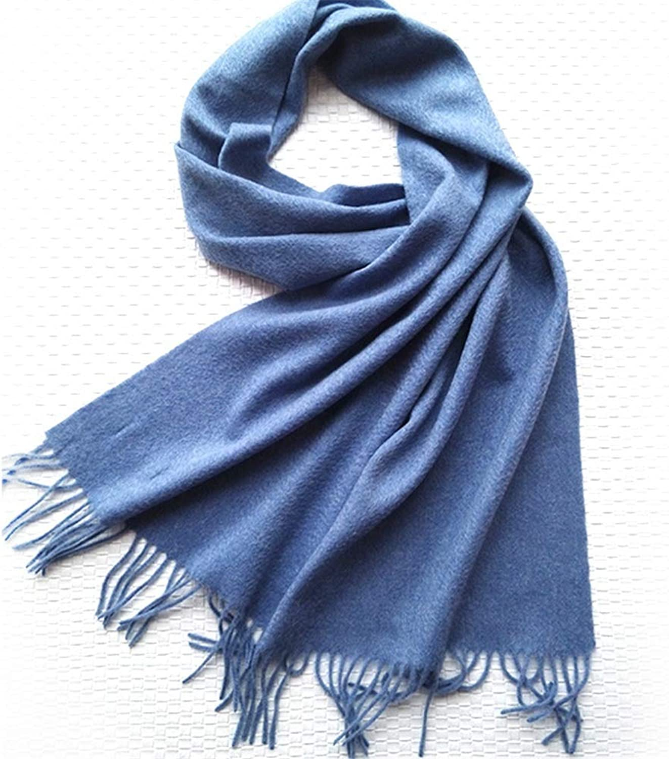 Autumn and Winter Solid color Scarf Ladies Variety MultiPurpose Student Warm Scarf (color   bluee)