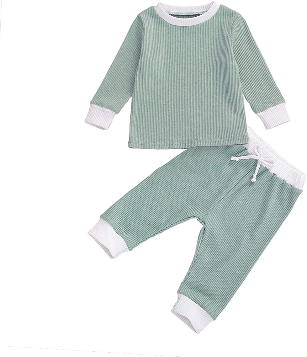 Voydsunflower Baby Girls Boys 2 Pieces Pants Set Solid Long Sleeve Romper Bodysuit Tops&Pants Pajamas Outfits