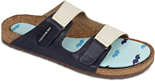Colour Me Mad Blue Moustache Men Sandal Natural Cork Washable All Weather Vegan Made in India PETA Certified