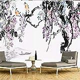 Nueva tinta china Wisteria paisaje sofá dormitorio sala de estar TV Fondo pared personalizado gran mural papel tapi papel pintado pared dormitorio de estar sala de estar fondo No tejido-200cm×140cm