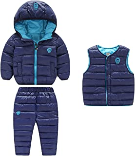 3 Piece Baby Boys Girls Windproof Winter Warm Down Jacket+Ski Pants+Vest Outfit Cotton-Padded Snowsuits Set