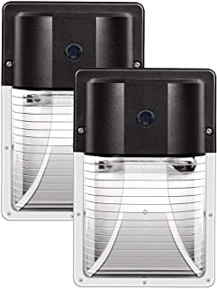 CINOTON 13W LED Wall Pack Light 1600lm,(Dusk-to-Dawn Photocell,Waterproof IP65), 100-277Vac,100-200W MH/HPS Replacement,Outdoor Security Lighting 5000K (5-Year Warranty) (2 Pack-with Sensor)