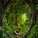 Leowefowa 8x8FT Jungle Forest Backdrop Dreamland Cascade Dirt Road Path Backdrops for Photography Old Trees Spring Vinyl Photo Background Kids Adults Shoot Studio Prop Wild One VBS Themed Safari Party