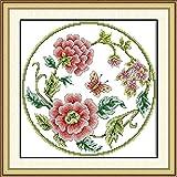 LLXJLUCKY Kit de punto de cruz para principiantes, 11 hilos, en relieve, bordado por BloomHandicraft, punto de cruz, accesorios de costura, regalo para decoración del hogar, 16 x 20 cm