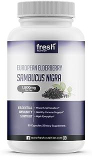 Elderberry Immune Support – Strongest DNA Verified 1800mg Sambucol Black Elderberry – Easy to Swallow Elderberry Capsule -...