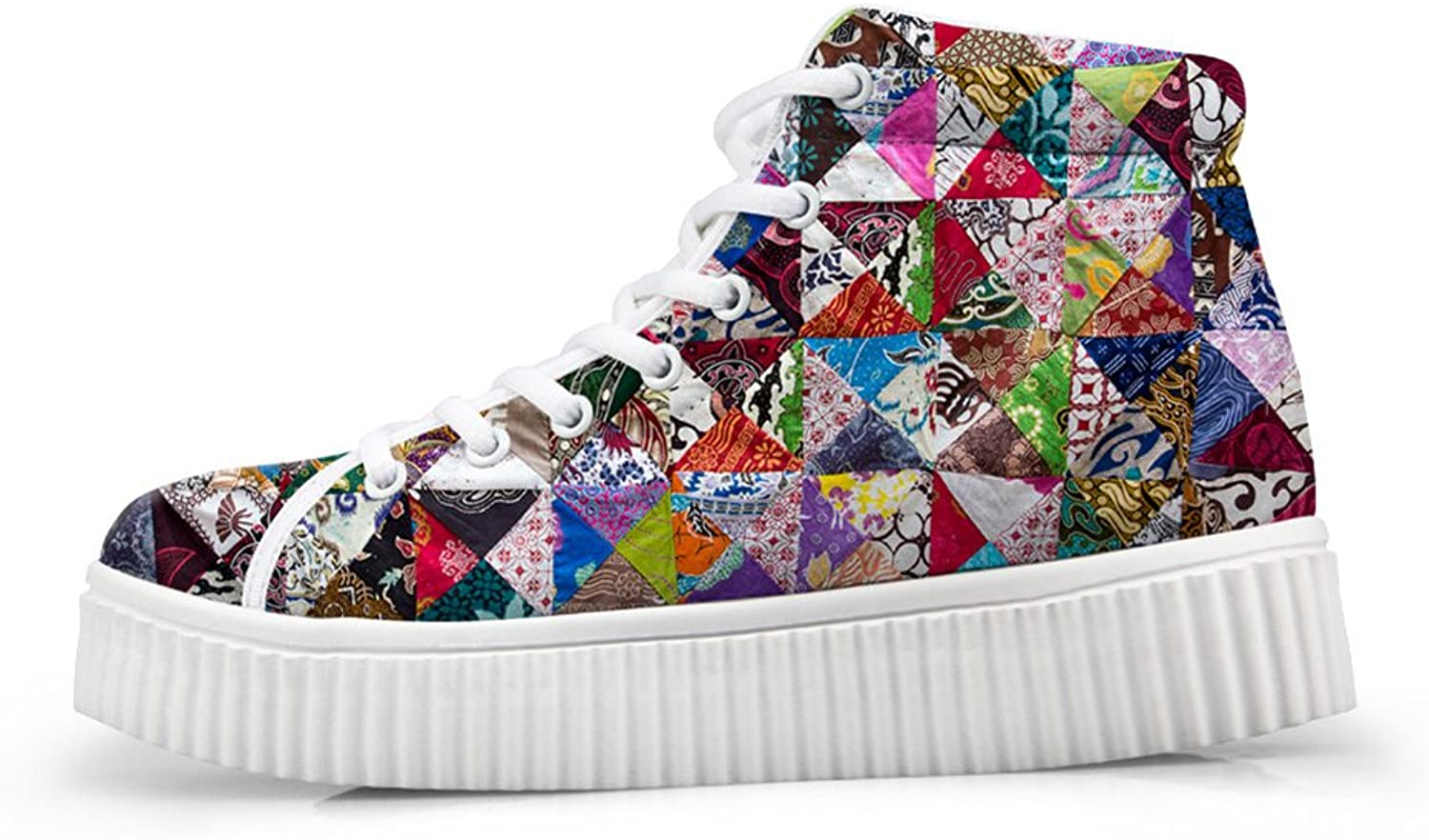 Mumeson Geometric Patchwork Print Women Casual shoes Platform Sneaker US 5