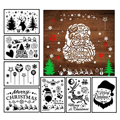 LANMOK 16Stk Spray Schablonen Groß Zeichenschablonen Weihnachten Fenster Weihnachtsmann Schneeflocken Deko Stanzschablone (17.8x26cm) (A Spray Schablonen)