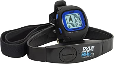 Multifunction Sports Training GPS Watch - Smart Classic Fit Sport Running Digital Fitness Gear Wrist Tracker w/ 2.4GHz Heart Rate Monitor Strap, Navigation, For Men Women - Pyle PSWGP405BL (Black)