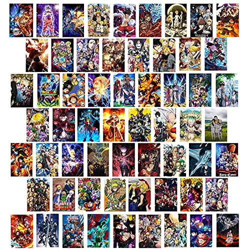 Anime Aesthetic Wall Collage Kit 60 PCS Anime Room Decor Aesthetic Pictures Collage Kit Manga 4.2x6.2 inch, Small Japan Anime Posters for Room Aesthetic (Anime)