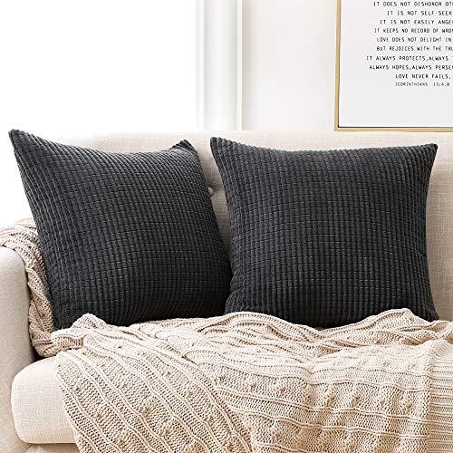 Deconovo Set of 2 Home Decoration Corduroy Grey Cushion Covers 50cm x 50cm, 20x20 Inches Grid Throw Pillow Cases, Square Pillowcases Cushion Covers for Sofa Chairs(Dark Grey, 2 Pieces)
