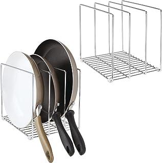 mDesign Range poêle en métal – Porte Couvercle Compact pour Le Placard de Cuisine – Support Vaisselle Peu encombrant avec ...