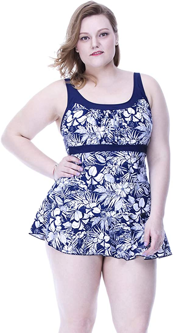 FOCUSSEXY Women's Plus Size 3 Piece Swimsuits Bikini Set Tops & Bottoms with Skirt Swimwear Bathing Suit