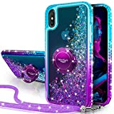 Silverback iPhone X/XS Glitter Case, Girls Women Moving Liquid Holographic Sparkle Glitter Case with Kickstand, Bling Diamond Bumper W/Ring Stand Slim Protective Case for Apple iPhone X/XS -Purple