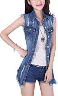 Tanming Women's Sleeveless Button Down Ripped Denim Jean Vest Waistcoat