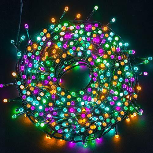Ulinek bunte Lichterkette außen 20M Weihnachten 200 LED Lichterkette bunt mit Strombetrieben Weihnachtsdeko Wasserdicht IP44 und 8 Anzeigenmodi für Fenster Weihnachtsbaum Balkon Terrasse Büsche Party