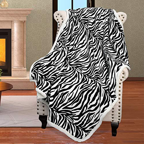 Zebra Sherpa Fleece Throw Blanket, Super Soft Mink Plush Couch Blanket, TV Bed Fuzzy Blanket, Fluffy Comfy Warm Heavy Throws, Comfort Caring Gift, 50x60 inches
