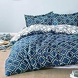 Bedsure Funda Nórdica Cama 90 Azul Marino - Fundas Edredón Nórdico 150x220cm con 1 Funda de Almohada 40x75cm - Microfibra Muy Suave Hipoalergénica Transpirable