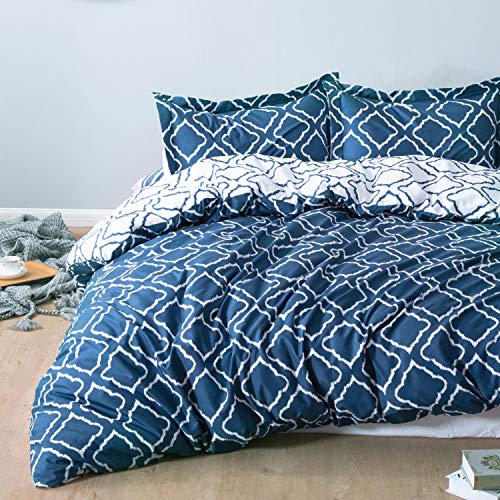 Bedsure Funda nordica Cama 150/135cm Azul Marino - Fundas edredon 230x220cm con 2 Fundas de Almohada 40x75cm 3 Piezas - Muy Suave Microfibra con patrón a Cuadros