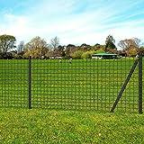 UnfadeMemory Set de Euro Valla de Malla Metalica para Jardin,Barrera para Cercados de Animales,con Postes y Anclajes,Acero (25x1m, Gris,Malla 76x63mm)