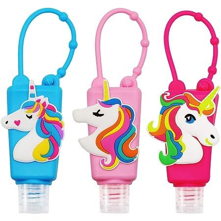 SENSIVO Hand Sanitizer Holder Keychain Empty Travel Size Hand Sanitizer Keychain For Backpack Small Hand Sanitizer Bottles For Kids Portable Refillable Hand Sanitizer Keychain Holder Case Unicorn