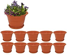 Meded Siti Plast Heavy Duty Plastic Planter Pots with Bottom Tray Color Terracotta (Dia 8 Inch, Pack of 10)