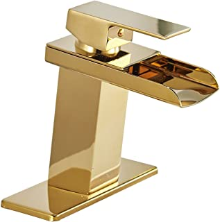 Homevacious Gold Bathroom Faucet Brass Vanity Bath Sink Lavatory Faucets Single Handle One Hole Waterfall Modern Basin Commercial Deck Mount Mixer Tap Supply Hose Lead-Free